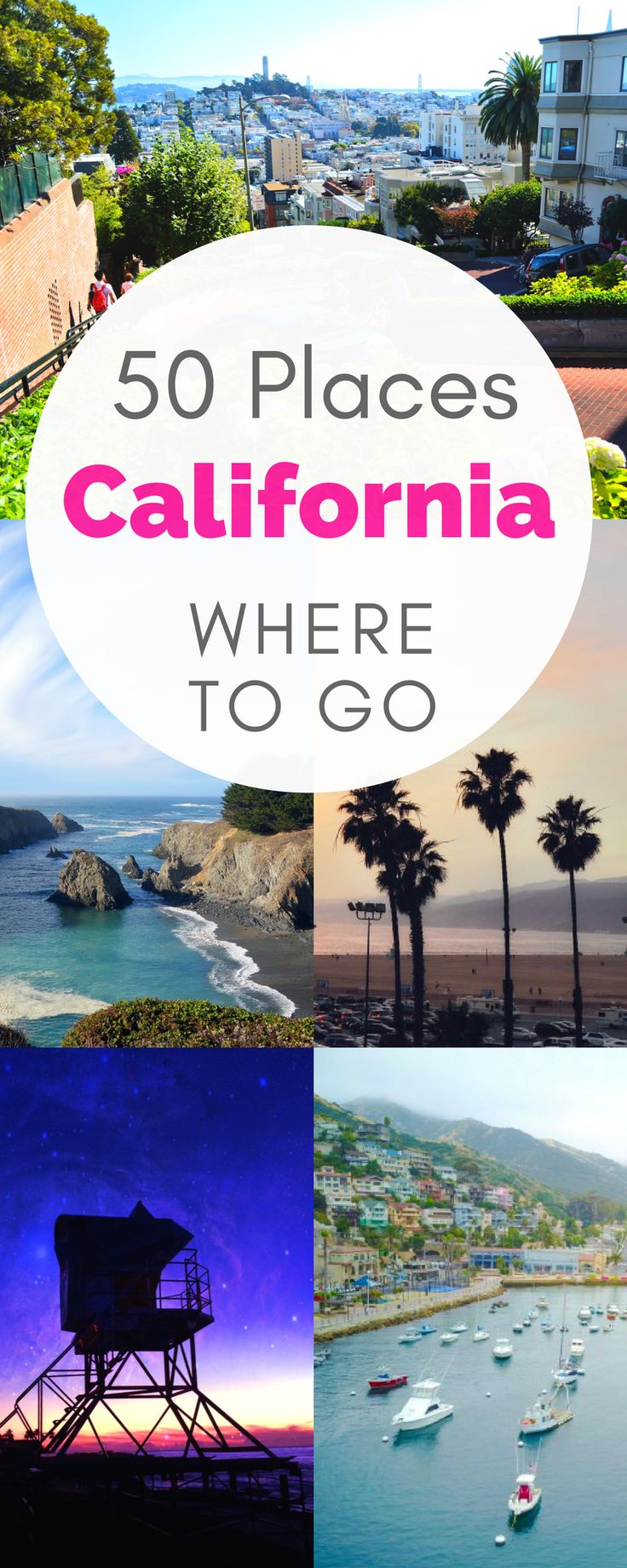 CALIFORNIA IS BEAUTIFUL! Check out the 50 most beautiful places in California, to use on any California itinerary and when figuring out where to go in California! It's such a varied state full of mountains and castles and purple sand beaches, and more!