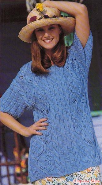 . Голубой вязаный пуловер с листьями вьюнка - Вязание спицами - Страна Мам