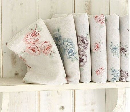 One Pattern A Yard Romantic Shabby Floral Linen by UniqueShiny, $16.80