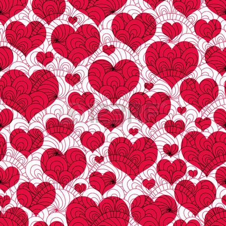 Seamless valentine background with red hearts and lacy vintage pattern (vector EPS 10)