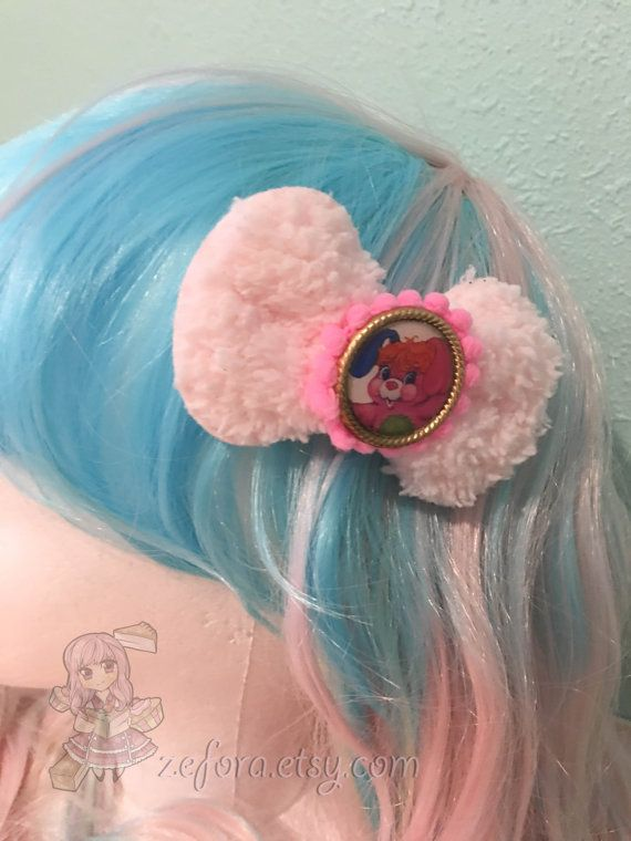 Popples Fluffy Hair Clip Or Brooch Fairy Kei Bow 1 pcs by zefora