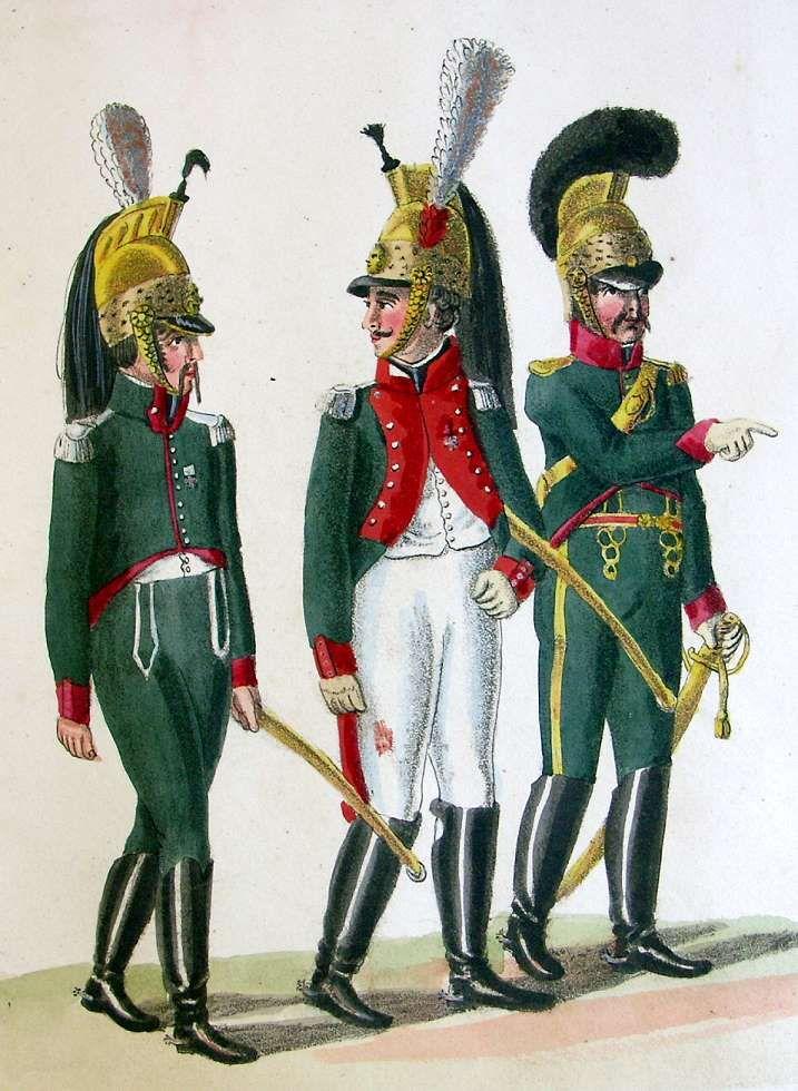 Französische Truppen - Offiziere der Dragoner. Offizier der Chevaulegers (ca. 1812)