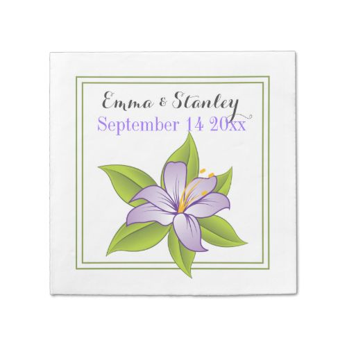 Elegant lavender lily floral wedding custom disposable napkins