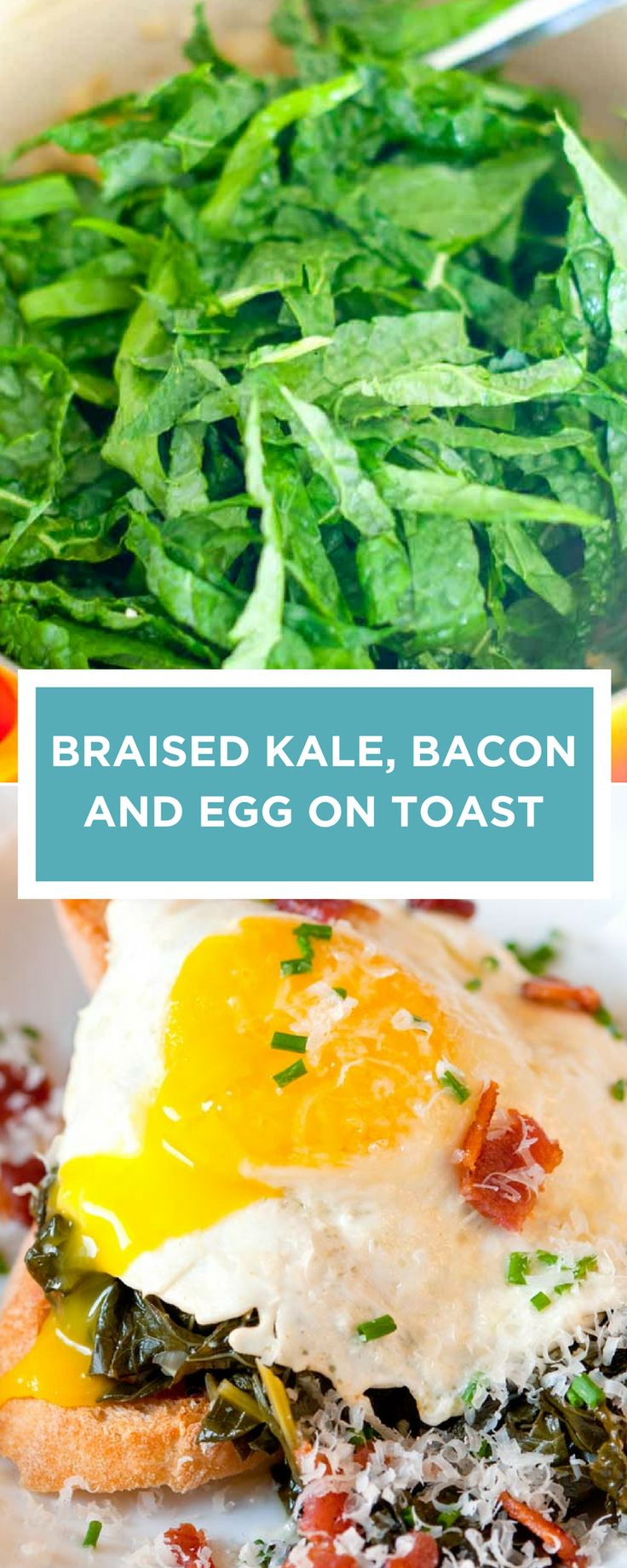 Kale is braised for about 30 minutes with bacon, chicken stock, onion and garlic — making it rich, hearty and full of flavor. Then we pile it onto a thick piece of toast and top with egg. Perfect for breakfast, lunch or dinner. #egg #toast