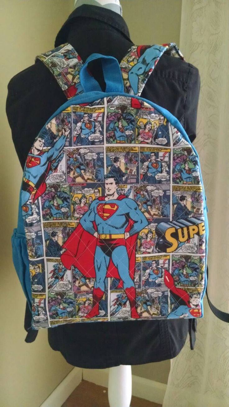 Hand Waxed Canvas and Quilted Superman Backpack by Tryonquilts on Etsy https://www.etsy.com/listing/234803610/hand-waxed-canvas-and-quilted-superman