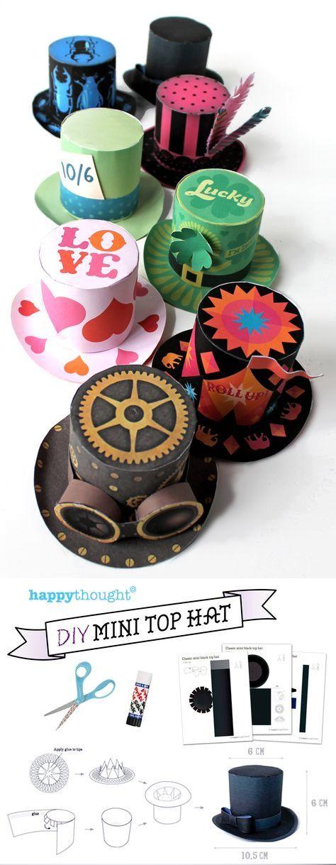 Printable DIY no-sew paper mini top hats!
