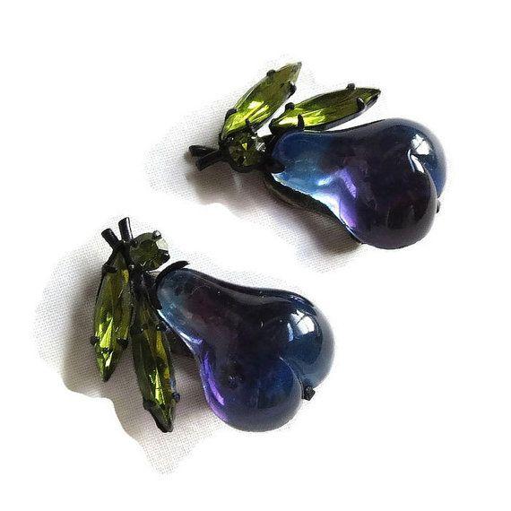 Vintage Austria Pear Fruit Earrings in Purple & Blue Molded Glass with Olivine Rhinestone Leaves by MyVintageJewels
