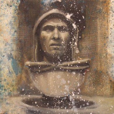 Codex Corruptionis, 2013, olio su tela, 30 x 30 Girolamo Savonarola, fustigatore della corruzione