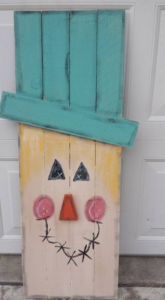 This is the first side of two on a reversible Scarecrow/Snowman Rustic, primitive, painted, wood, handmade, cute, colored, reclaimed, fence picket, country scarecrow