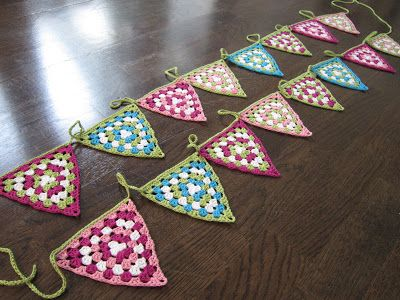 Granny bunting. Garland of granny triangles.