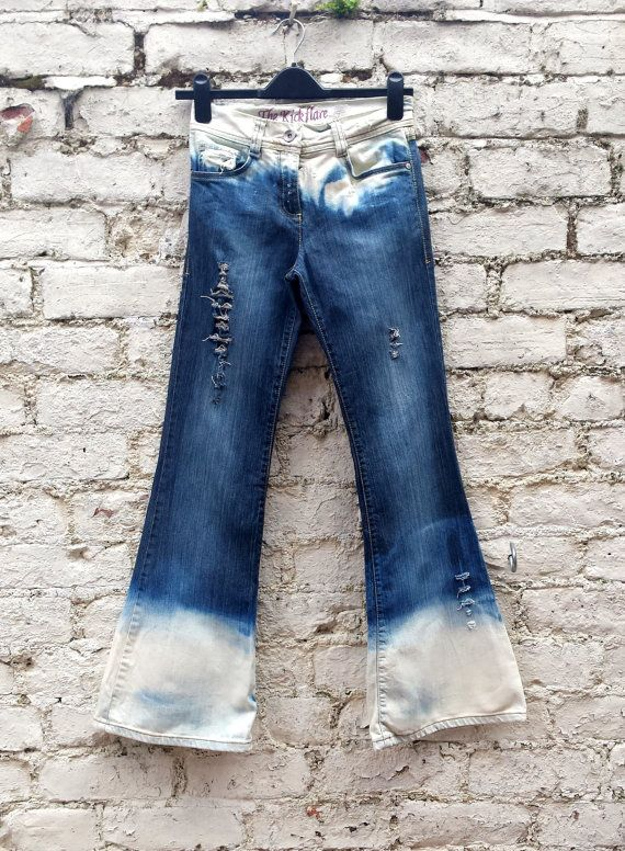 High Waisted Jeans Flared Ripped Bleached Jeans to fit UK size 6 US size 2 FREE Jewellery Item with EVERY purchase in June only at www.abidashery.etsy.com