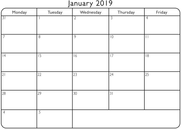 Printable January 2019 Calendar USA Free Printable February 2019