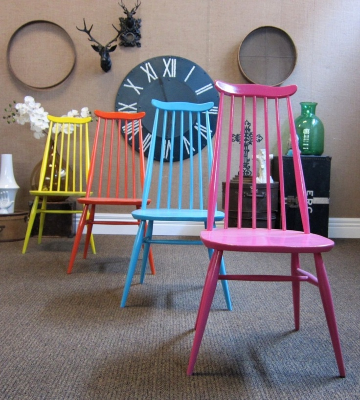 Candy coloured dining chairs