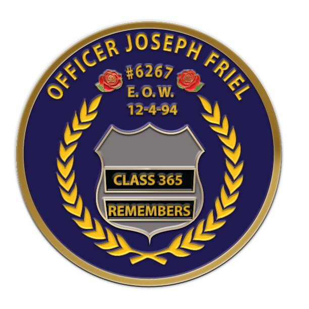 """Custom Challenge Coins made for  """"Officer Joseph Friel"""", Now you can create unique edge custom coins with challengecoinscity.com"""