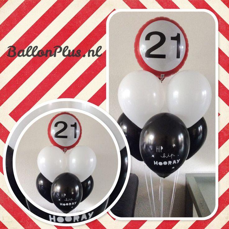 Helium Ballon Boeket 21 jaar van BallonPlus.nl