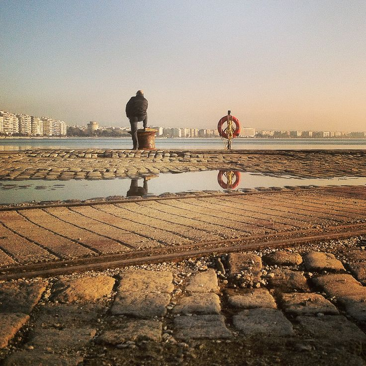 Reflecting by the sea. Walking Thessaloniki app, Route 01 - Port (Download for FREE) #lifesaver #travel #guide #Greece