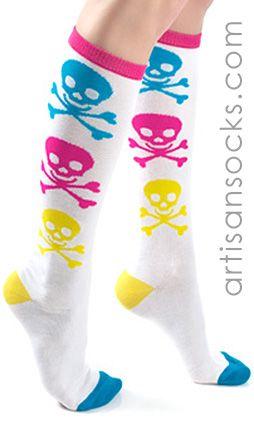 Neon Knee Highs Skull and Crossbones Socks