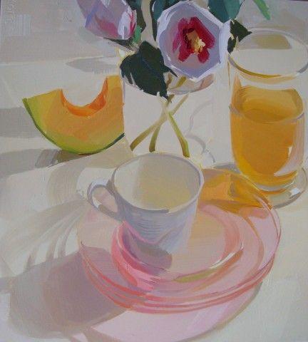 glass, pastel, light, transparent, floral, square, summer, still life, depression glass