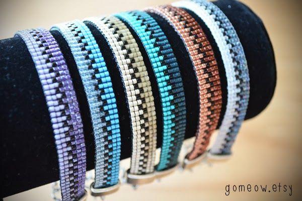 Gomeow Bijoux/Jewelry: Bracelets sur loom aux couleurs moitié-moitié