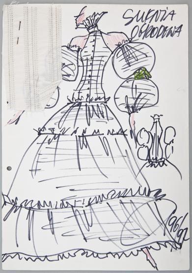 """Jerzy Antkowiak, """"Moda Polska"""", kolekcja """"Ogrody"""", 1995 r., wł. MNK #PRL #Moda Polska #Polish Fashion #Jerzy Antkowiak"""