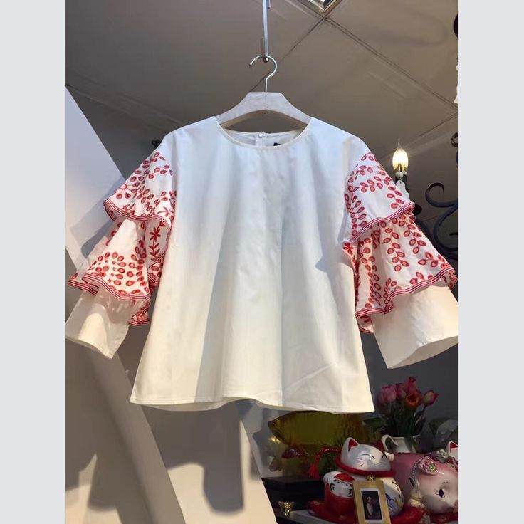 NIWIY Brand Summer Embroidered White Shirt Women Blouses Camisas Femininas 2017 Double Leaf Sleeve Women Tops Blusas Mujer892165