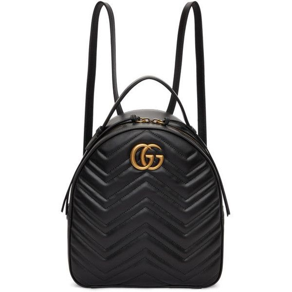 Gucci Black GG Marmont Quilted Chevron Backpack ($1,815) ❤ liked on Polyvore featuring bags, backpacks, black, quilted leather bag, gucci bags, zip bag, quilted bag and quilted leather backpack