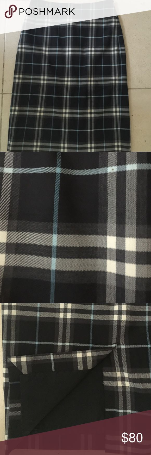 Burberry plaid black, white and blue pencil skirt. Burberry plaid black, white and blue pencil skirt. Size 4. Lined. Like new condition. Burberry Skirts Pencil