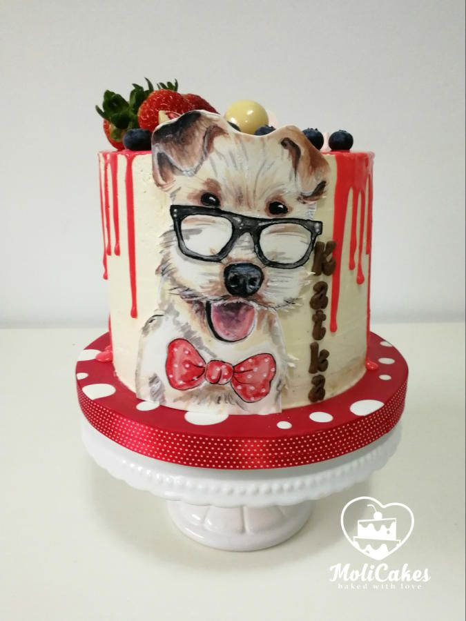 a dog wearing glasses by MOLI Cakes