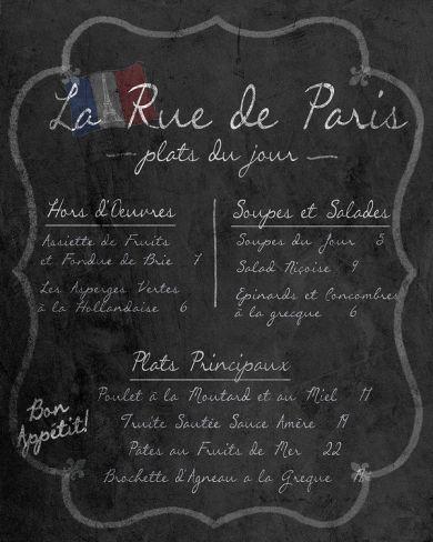 French Menu I Print at Art.com