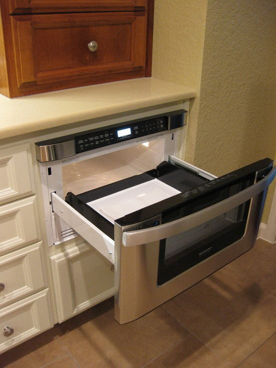 microwave drawer perfect for a tiny kitchen with no counter space