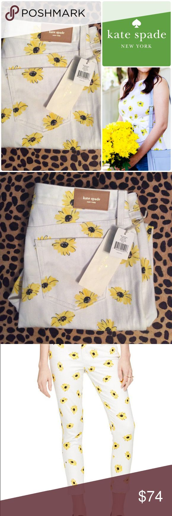 """Nwts KATE SPADE sz31"""" sunflower white JEANS💕 Super fun high waisted brand new KATE SPADE sunflower white jeans size 31.   Tags still attached. kate spade Jeans"""