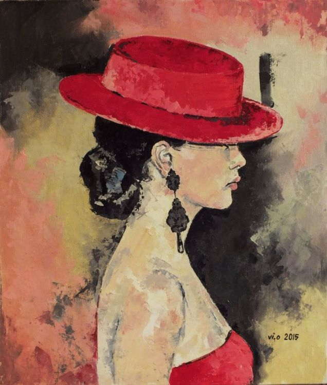 Red hat (2015) Oil painting by Violeta Oprea | Artfinder