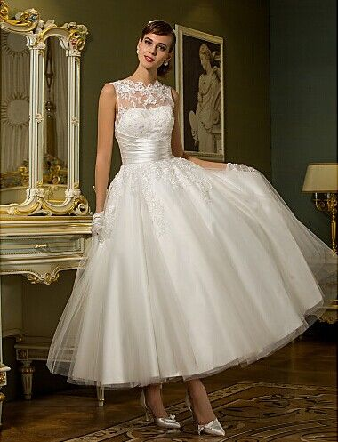 A Line Jewel Ankle Length Tulle Wedding Dress Silhouette Princess