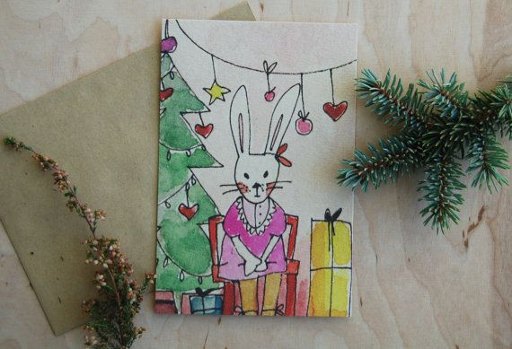 Christmas card postcard Christmas drawing by mydesignpictures