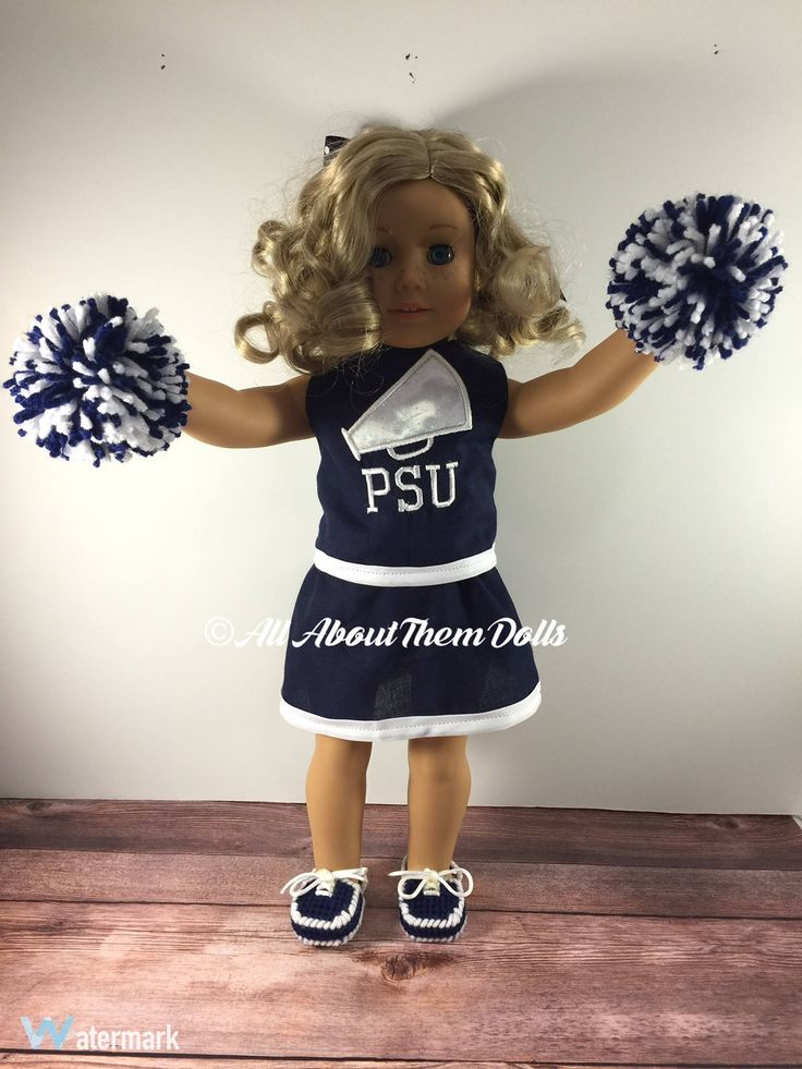 Doll Cheer Outfit;Doll Uniforms;Custom Doll Clothes;18 Inch Doll Clothes;Penn State;College Football;Doll Football;PSU;Baby Doll Clothes by AllAboutThemDolls on Etsy