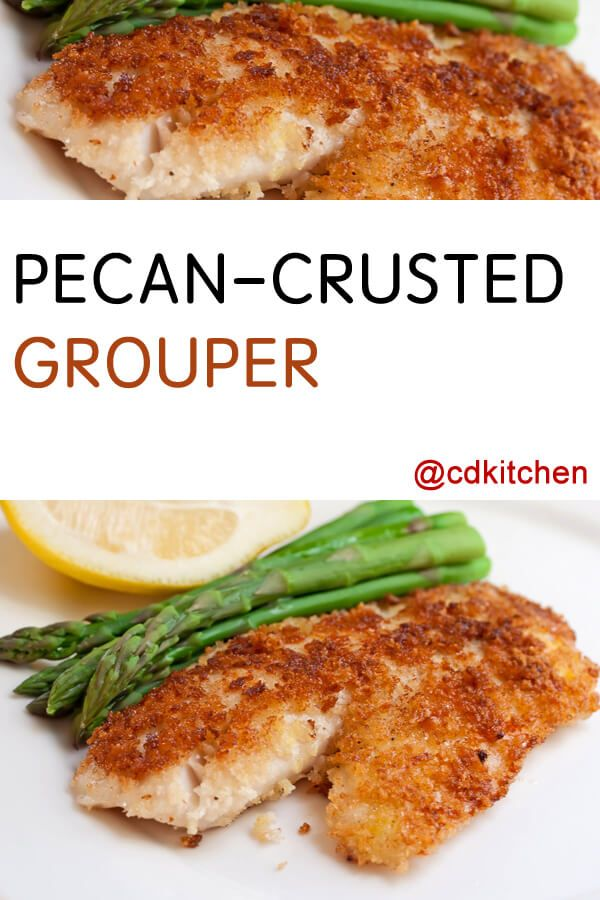 Made with pecan, bread crumbs, grouper fillet, salt and pepper, flour, eggs, butter or margarine, lemon, fresh Italian parsley | CDKitchen.com