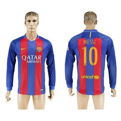 Barcelona 16-17 Lionel Messi 10 Hjemmebanetrøje Langærmet.  http://www.fodboldsports.com/barcelona-16-17-lionel-messi-10-hjemmebanetroje-langermet.  #fodboldtrøjer