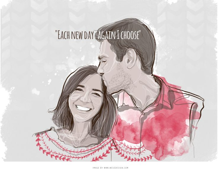 #Illustration #couple #watercolor Pin from wesedesign.com