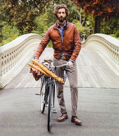 bike, baguettes, brown leather jacket