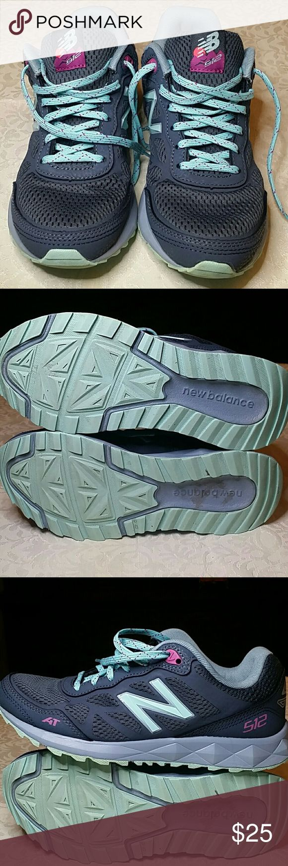 New Balance size 8 Trail Running Shoes Sharp looking charcoal with teal accent New Balance size 8 Trail Running Shoes. Mom wore the 12 or 15 times. These shoes are in excellent, clean condition. Some minor staining on the bottom of the soles. New Balance Shoes Athletic Shoes