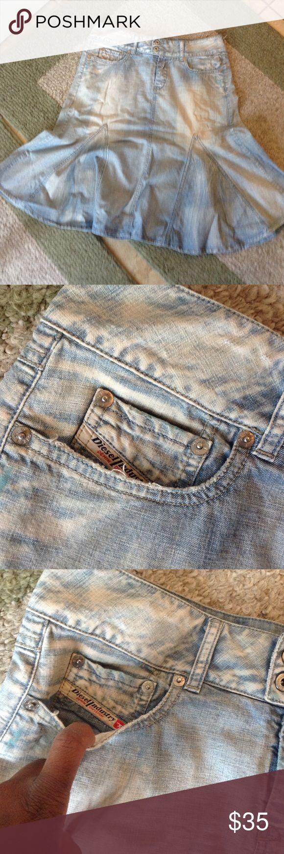 Stone wash Blue jean DIESEL pin flair skirt Stone wash Diesel skirt Diesel Skirts Pencil