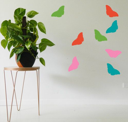 Pretty flying Butterflies wall sticker decal. Customise your kids bedroom wall with our vinyl stickers. Place each individual butterfly to create a unique wall art. https://www.moonfacestudio.com.au/product-page/butterflies-vinyl-wall-sticker-decal