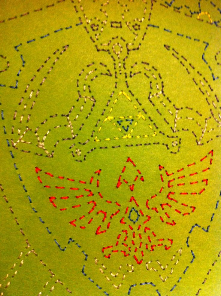 Detail shot of Link's Hylian Shield & Master Sword from Zelda Stitched Art by JSA. #JaimiesStitchedArt
