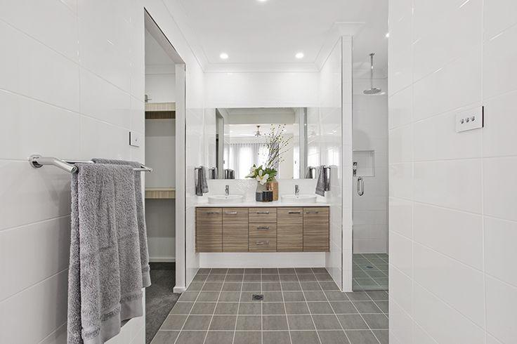 Master bedroom ensuite. Timber laminate. Grey tiles.