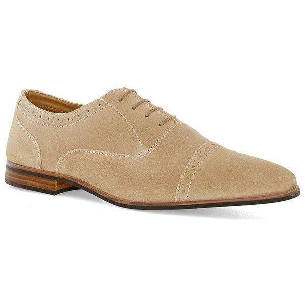 TOPMAN Beige Suede Oxford Brogues ($57) ❤ liked on Polyvore featuring men's fashion, men's shoes, men's oxfords, brown, mens brown shoes, mens brown suede shoes, mens suede shoes, mens brown oxford shoes and topman mens shoes