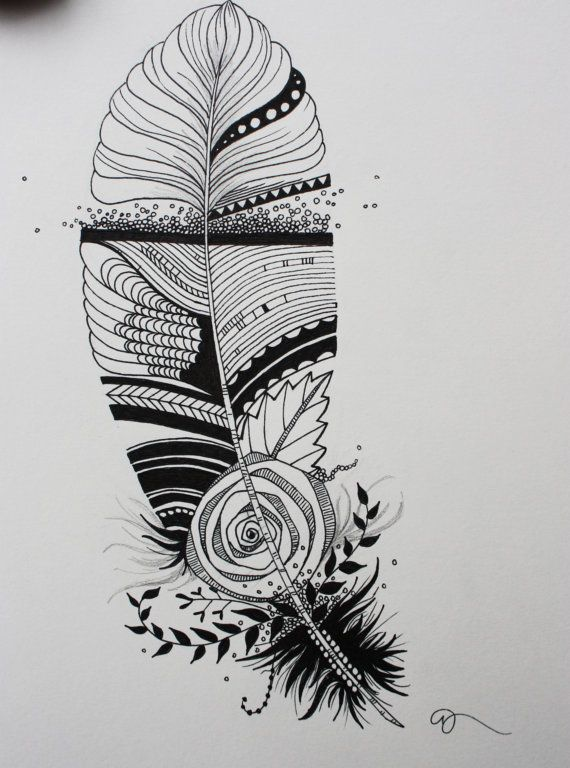 Original india ink drawing or tattoo design whimsical for Drawing design ideas