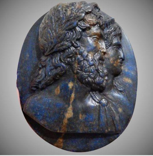 MASTERPIECE Massive Late Renaissance Italian Lapis Lazuli Cameo Plaque, Zeus and Hera, c.1625!