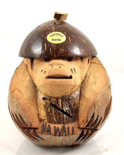 Vtg Hand Carved Coconut Monkey Piggy Bank from Hawaii Souvenir Tiki Bar Tropical | eBay