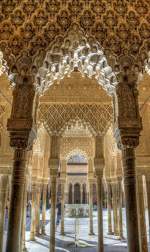 Courtyard of the Lions Alhambra  Granada  Spain
