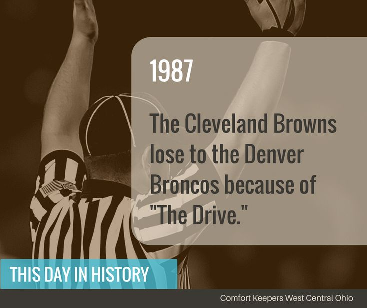 """#WaybackWednesday Who remembers this game? January 10, 1987 """"The Drive"""" Game: Trailing the Cleveland Browns 20-13 with 5:32 remaining in the AFC Championship Game, Denver quarterback John Elway drives his team 98 yards for a touchdown to tie, Broncos then win in overtime advancing to Super Bowl XXI."""